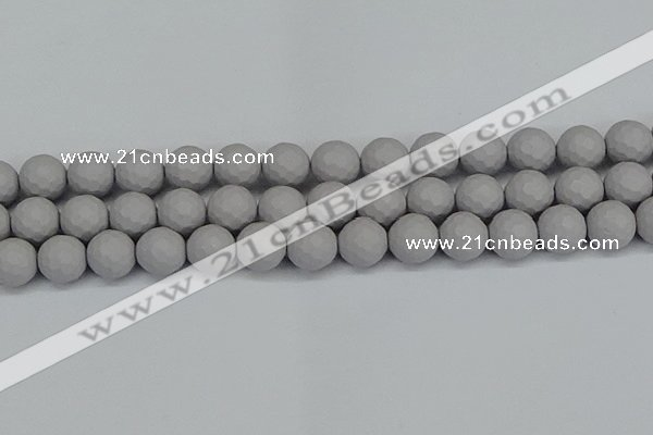CSB1945 15.5 inches 14mm faceted round matte shell pearl beads