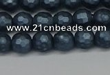 CSB1971 15.5 inches 6mm faceted round matte shell pearl beads