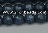 CSB1973 15.5 inches 10mm faceted round matte shell pearl beads