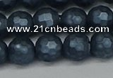 CSB1974 15.5 inches 12mm faceted round matte shell pearl beads