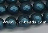 CSB1983 15.5 inches 10mm faceted round matte shell pearl beads