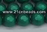 CSB2004 15.5 inches 12mm faceted round matte shell pearl beads