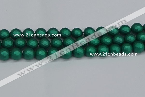 CSB2005 15.5 inches 14mm faceted round matte shell pearl beads