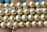 CSB2188 15.5 inches 18mm ball shell pearl beads wholesale