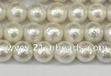 CSB2200 15.5 inches 4mm round wrinkled shell pearl beads wholesale