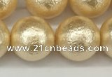 CSB2226 15.5 inches 16mm round wrinkled shell pearl beads wholesale