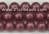 CSB2260 15.5 inches 4mm round wrinkled shell pearl beads wholesale