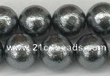 CSB2292 15.5 inches 8mm round wrinkled shell pearl beads wholesale