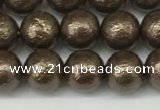 CSB2311 15.5 inches 6mm round wrinkled shell pearl beads wholesale