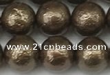 CSB2313 15.5 inches 10mm round wrinkled shell pearl beads wholesale