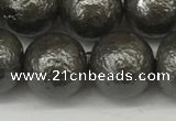 CSB2325 15.5 inches 14mm round wrinkled shell pearl beads wholesale