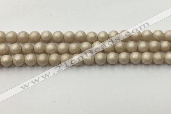 CSB2371 15.5 inches 6mm round matte wrinkled shell pearl beads