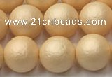 CSB2402 15.5 inches 8mm round matte wrinkled shell pearl beads