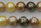 CSB375 15.5 inches 14mm round mixed color shell pearl beads