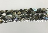 CSB4135 15.5 inches 8*12mm flat teardrop abalone shell beads