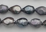 CSB418 12*15.5mm faceted teardrop mixed color shell pearl beads