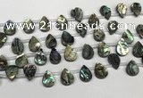 CSB4186 Top drilled 10*14mm flat teardrop balone shell beads