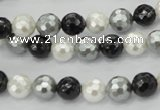 CSB470 15.5 inches 8mm faceted round mixed color shell pearl beads