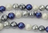 CSB480 15.5 inches 8mm faceted round mixed color shell pearl beads