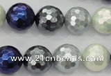 CSB484 15.5 inches 16mm faceted round mixed color shell pearl beads