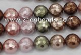 CSB501 15.5 inches 10mm faceted round mixed color shell pearl beads