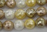 CSB523 15.5 inches 14mm faceted round mixed color shell pearl beads