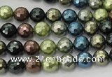CSB530 15.5 inches 8mm faceted round mixed color shell pearl beads