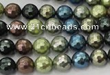 CSB531 15.5 inches 10mm faceted round mixed color shell pearl beads