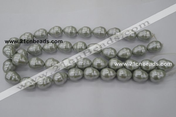 CSB571 15.5 inches 16*19mm whorl teardrop shell pearl beads