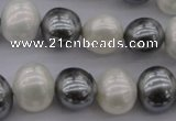 CSB697 15.5 inches 13*15mm oval mixed color shell pearl beads