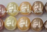 CSB715 15.5 inches 16*19mm oval mixed color shell pearl beads