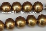 CSB805 15.5 inches 13*15mm oval shell pearl beads wholesale