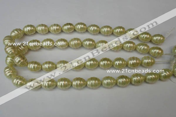 CSB887 15.5 inches 13*16mm whorl teardrop shell pearl beads wholesale