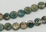 CSE5007 15.5 inches 8mm flat round natural sea sediment jasper beads