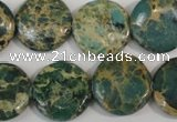 CSE5031 15.5 inches 20mm flat round natural sea sediment jasper beads