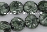 CSH53 15 inches 16mm flat round natural seraphinite gemstone beads