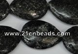 CSI107 15.5 inches 22*30mm flat teardrop silver scale stone beads