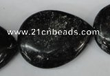 CSI109 15.5 inches 30*40mm flat teardrop silver scale stone beads