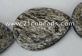 CSI40 15.5 inches 30*40mm flat teardrop silver scale stone beads wholesale