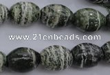 CSJ101 15.5 inches 12*16mm rice green silver line jasper beads