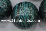 CSJ212 15.5 inches 30mm round dyed green silver line jasper beads