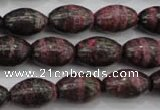 CSJ271 15.5 inches 10*14mm rice dyed green silver line jasper beads