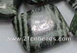 CSJ34 15.5 inches 40*40mm diamond green silver line jasper beads