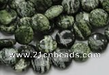 CSJ41 15.5 inches 10mm flat round green silver line jasper beads