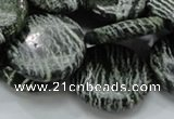 CSJ45 15.5 inches 25mm flat round green silver line jasper beads