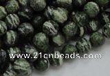 CSJ64 15.5 inches 8mm faceted round green silver line jasper beads