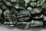 CSJ78 15.5 inches 12*16mm faceted oval green silver line jasper beads