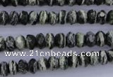 CSJ91 15.5 inches 5*8mm faceted rondelle green silver line jasper beads