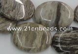 CSL06 15.5 inches 22*30mm oval silver leaf jasper beads wholesale