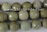 CSL112 15.5 inches 12mm faceted round silver leaf jasper beads